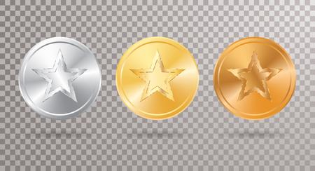 Conjunto de medallón dorado, plateado y bronce con estrella. Foto de archivo - 84628914