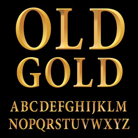 golden alphabet, golden letters, vector illustration Иллюстрация