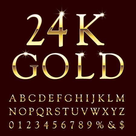 Golden alphabet icon.