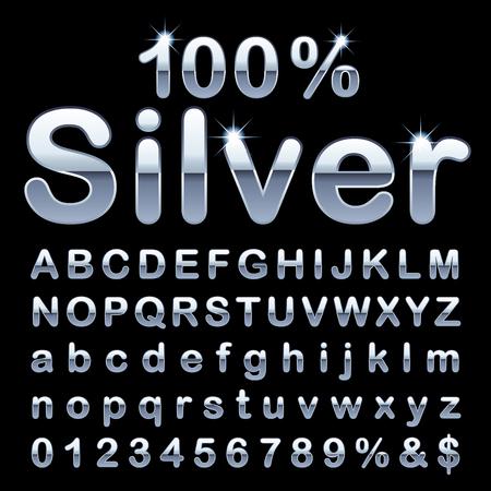 銀アルファベット脂肪銀丸みを帯びた文字、ベクトル イラスト