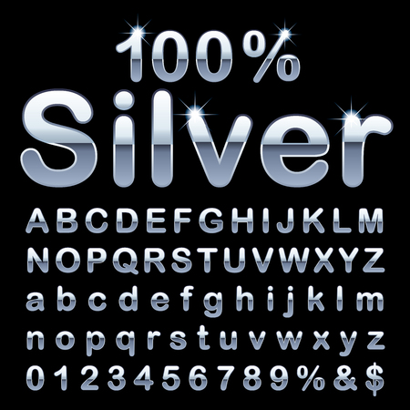 Silver alphabet, fat silver rounded letters, vector illustration