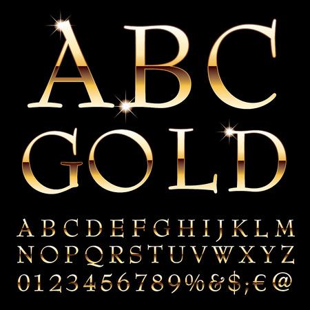 gloss: golden alphabet, elegant golden letters, vector illustration