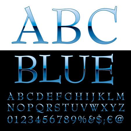 gloss: Blue alphabet, blue letters, vector illustration.
