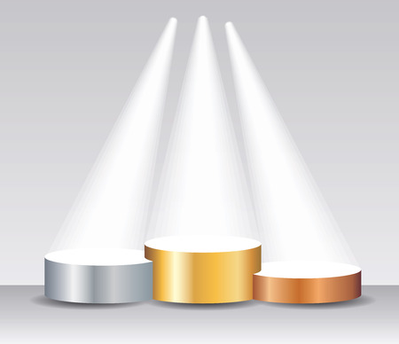Empty vector pedestals for champions, golden silver and bronze podium with spot lights