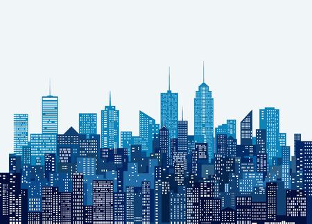 finestre bianche astratte skyline della città, sfondo di paesaggio urbano di colore blu, modificabile e stratificato