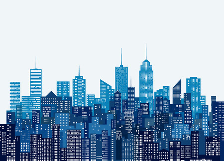 white windows abstract city skylines, blue color cityscape background, editable and layered