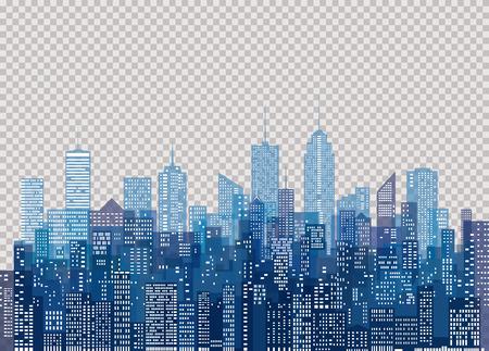 White windows on blue city skyline