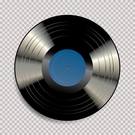 disco in vinile LP vuoto nero vettoriale con etichetta blu su sfondo trasparente e foro nel mezzo del disco