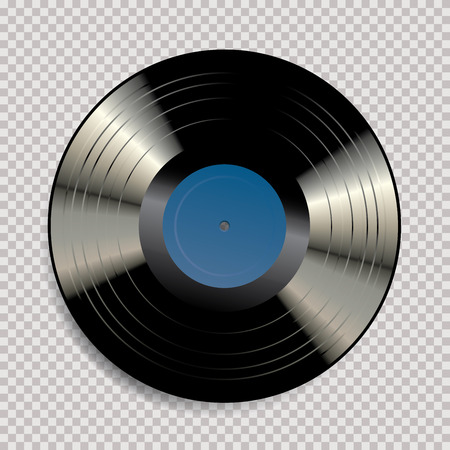 vector blank black LP vinyl record with blue label on transparent background and hole in the middle of the disc
