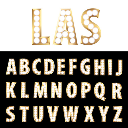 vector golden entertainment and casino letters with bulb lamps Ilustração