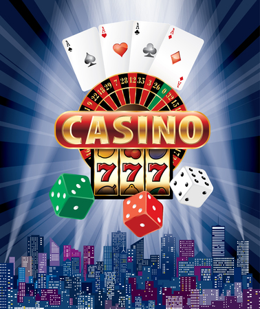 Casino sign with casino icons vector illustration.