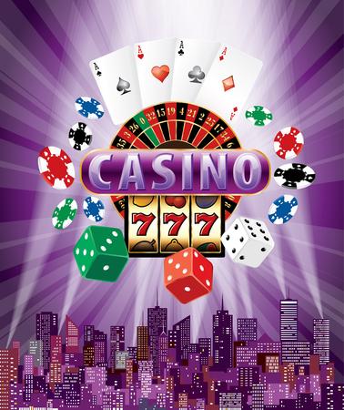 Het casinoteken met casinopictogrammen op purpere uitbarsting en moderne cityscape, vectorachtergrond met roulette, kaarten, spaandersgokautomaat en dobbelt