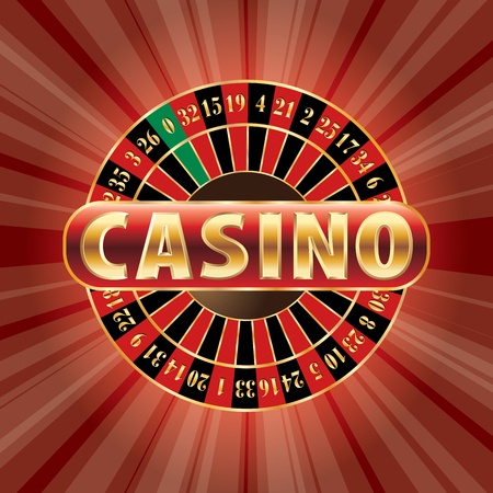 Casino sign with roulette on red burst, vector background