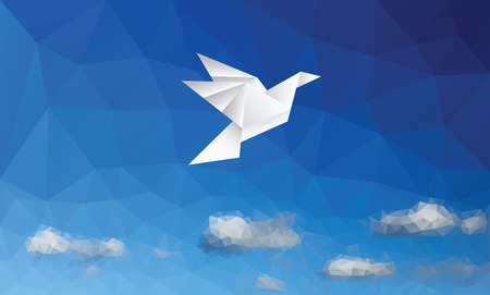 Illustration of paper bird on triangulated sky. Ilustracja