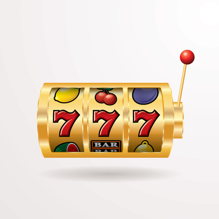 vector three seven jackpot on slot machine, gambling background, layered and editable