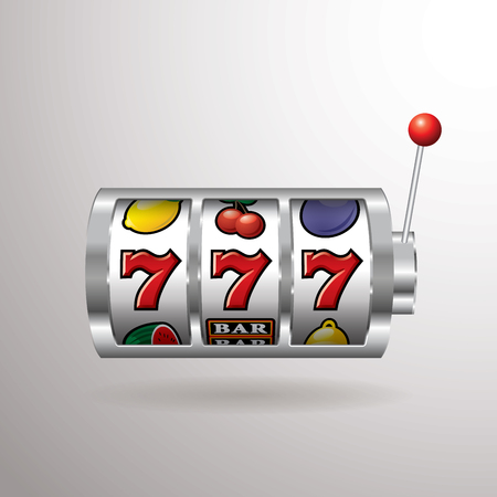 Three seven jackpot on slot machine Stok Fotoğraf - 90425455