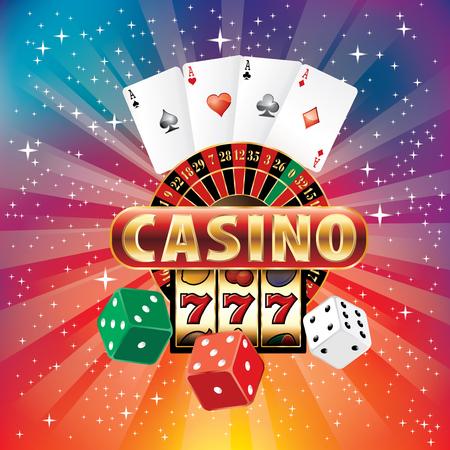 カジノのギャンブルのアイコンでバースト虹色のベクトルイラスト  イラスト・ベクター素材
