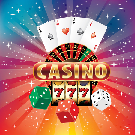 vector illustration of rainbow colors burst with casino gambling icons