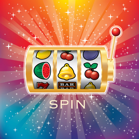 vector golden slot machine, gambling background on starry night in rainbow colors