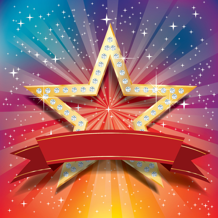 perforation tape: vector golden star with diamonds and blank red banner tape on starburst in rainbow colors Illustration
