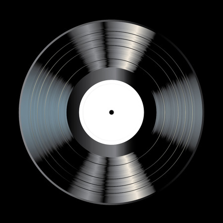 vector blank black LP vinyl record with white label on black background, realistic illustration