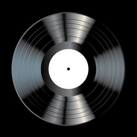 Vektor leere schwarze LP-Vinylaufzeichnung mit weißem Aufkleber auf schwarzem Hintergrund, realistische Illustration