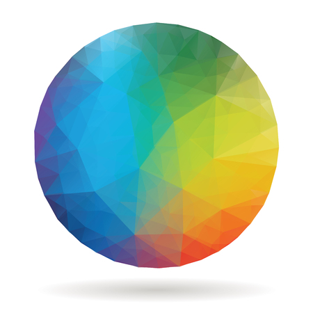 abstract triangulated sphere in rainbow colors, vector background Illustration