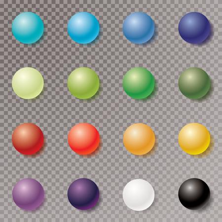Color balls with transparent shadow, vector illustration Illustration