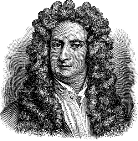 Oude illustratie van Isaac Newton, gravure is van Meyers Lexicon.