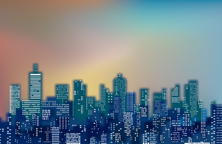 White windows on blue city skylines, blurry color cityscape background.