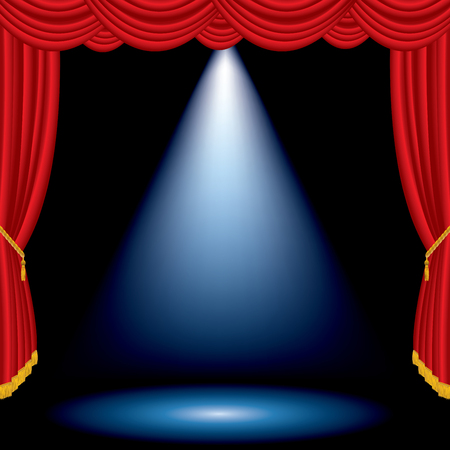 Spotlight on red curtain stage