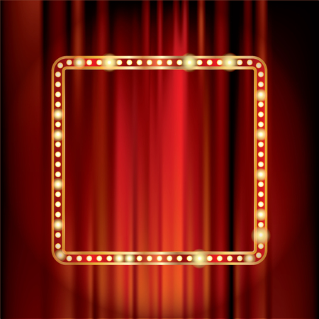 Red velvet with golden frame and bulb lamps, vector stage background