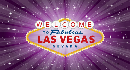 Vector transparent sign of las vegas with stars and burst on night purple background, layered and fully editable Illustration