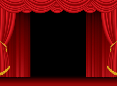 opned stage with red curtain, vector background illustration