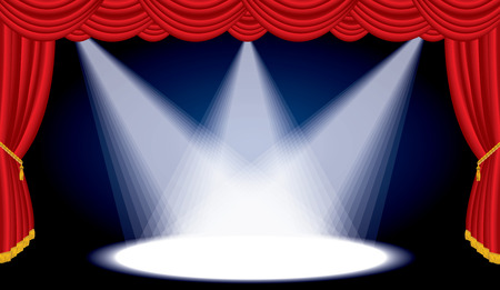 Opened stage with red curtain and three spotlights, vector background illustration Vectores