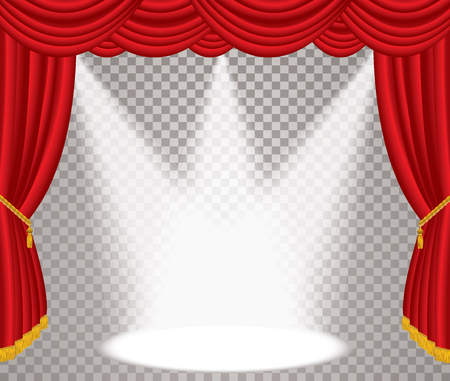 opened stage with red curtain, vector background illustration with transparent spots, layered and editable
