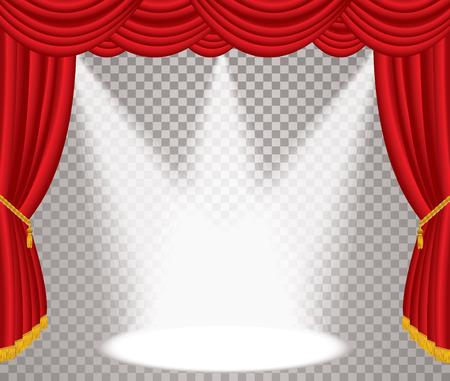 scène ouverte avec rideau rouge, illustration vectorielle de fond avec des taches transparentes, en couches et modifiable
