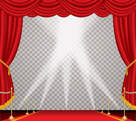 opened stage with red curtain and red carpet with golden fence, vector background illustration with transparent spots, layered and editable