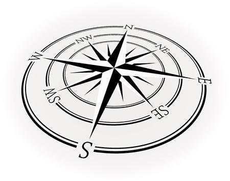 Rosa de los vientos o rosa de los vientos, ilustración vectorial