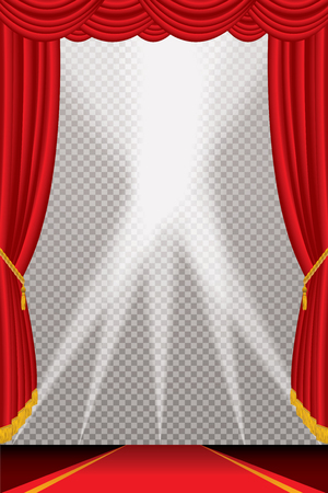 Opened stage with red curtain and red carpet. Illustration