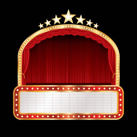 vector stage with red curtain, golden frame, bulb lamps and blank white billboard