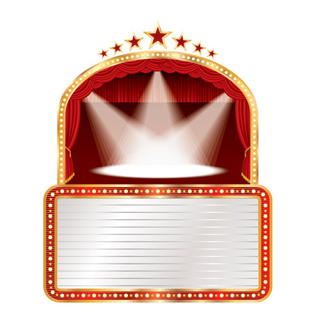 Stage with red curtain, golden frame, three spots, bulb lamps and blank white billboard. Illustration