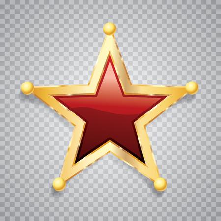 Golden red star, sheriff badge, vector illustration. Illustration