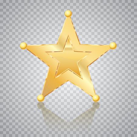 golden star, sheriff badge, vector illustration Ilustração