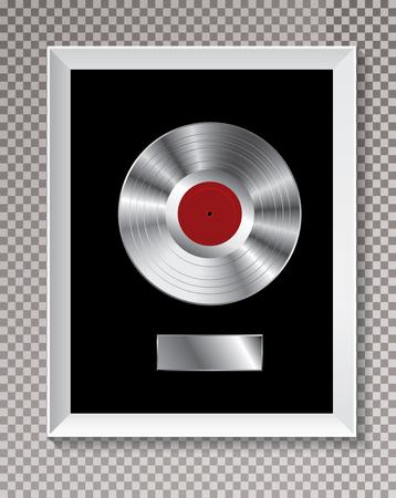 el disco LP de platino en marco blanco, ilustración vectorial editable con sombra transparente.