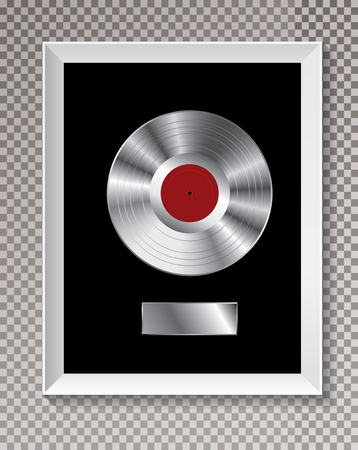 platinum LP record in white frame, vector editable illustration with transparent shadow.