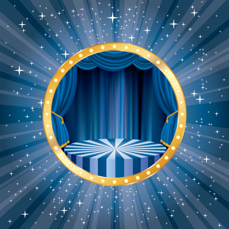 Vector circle stage with blue curtain illustration