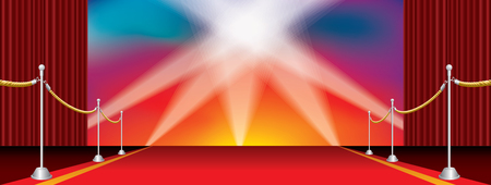 vector opened wide stage with red carpet and five spotlights on rainbow colors background Illustration