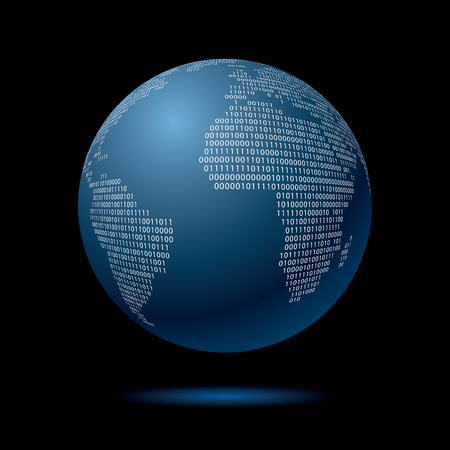 blue globe with binary code, vector illustration