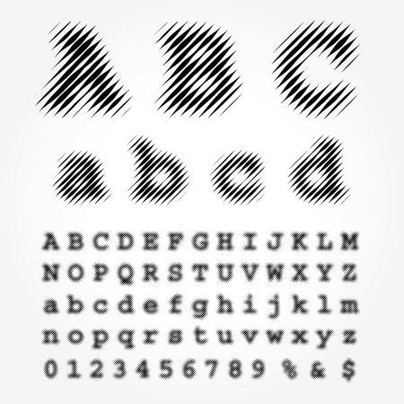 vector dimly linear raster halftone alphabet